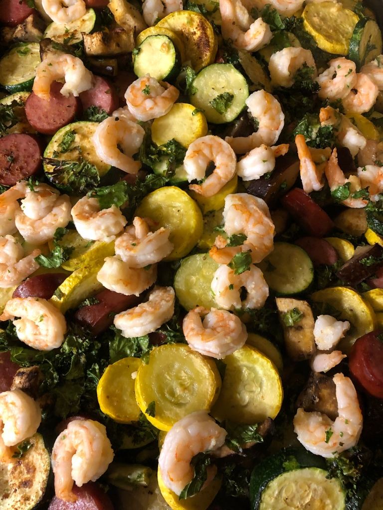 roasted veggies with sausage and shrimp