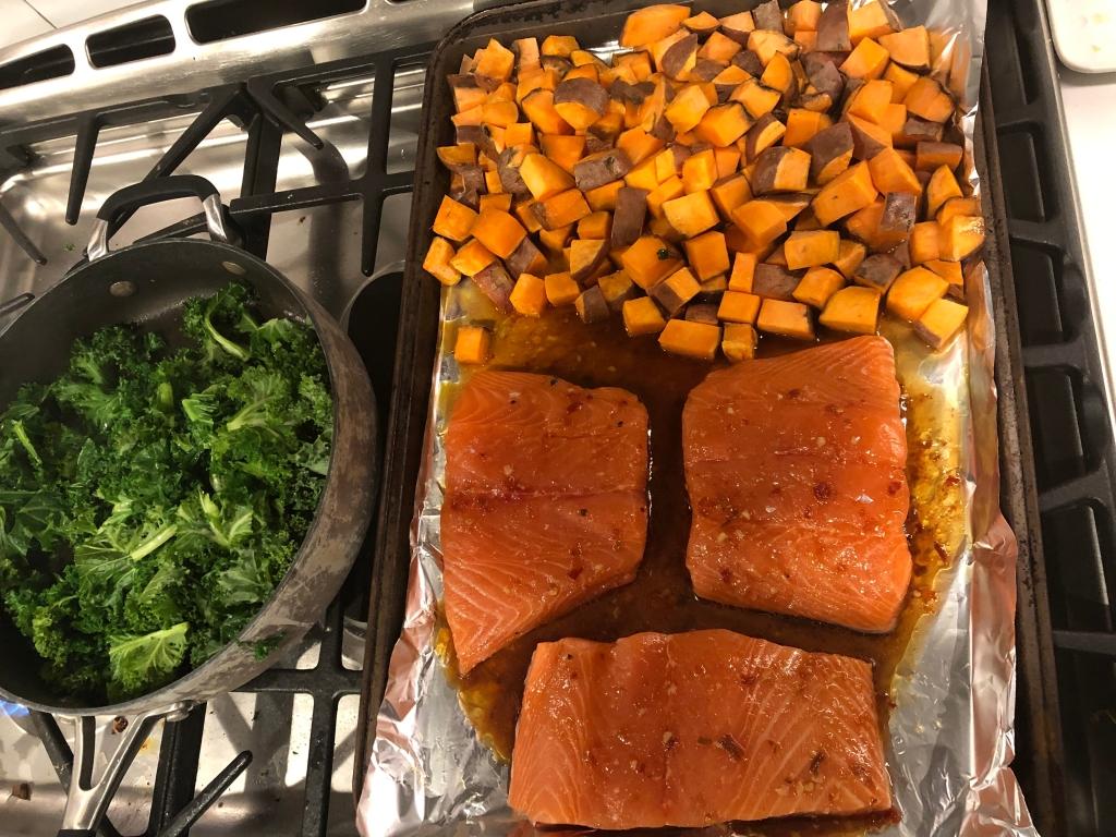salmon, kale, sweet potato